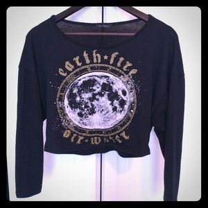 Witchy Long-Sleeved Black Crop Top